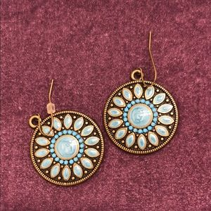 Antique gold and teal round flower earrings
